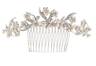 Floral Bridal Comb with Rhinestone and Pearl - Sweet Maria Back Piece
