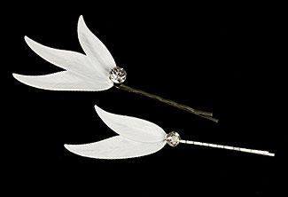 Winter Finch Feather Bobby Pin Set