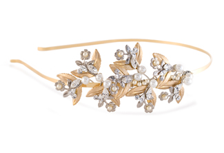 Bridal Headband - Floral - Gold headpiece - Vintage style - Falling Leaves Bridal Tiara