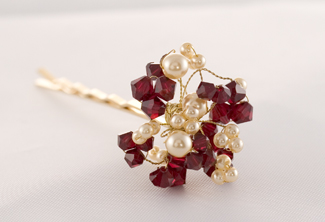 Bouquet Hairpin- Gold & Garnet