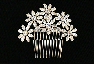 Crystal Bridal Comb - Vintage Daisy Motif  - Style Antique Daisies