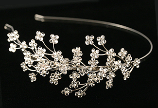 Bridal Flower Headpiece - Rhinestone Tiara - Floral Motif Headband - Wedding Hair Accessory - Wisteria Bridal Headband with Swarovski Crystal