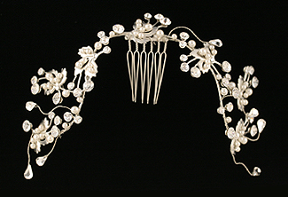 Bridal Beaded Headpiece - Flower Beaded Hair Vine - Wedding Headpiece - Style Etheral Lady with Swarovski Crystal