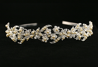 Bridal Headband - Floral and Crystal Bridal Headpiece - Sweet Maria