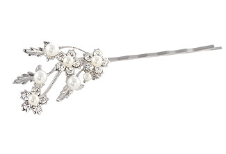 Bridal bobby pin - Beaded hair pin - Style Early Snow Wedding Bobby Pin with Swarovski Crystal